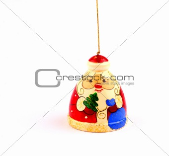 wooden russian santa claus attached to string
