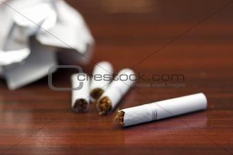 breaking cigarettes