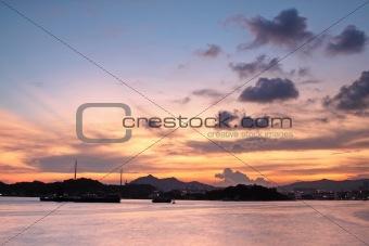 Beautiful tropical colorful sunset