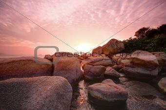 Beautiful colorful sunset over sea