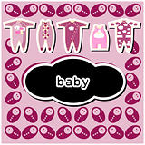 Baby sShower or arrival card with baby icons background