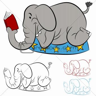 Circus Elephant Reading a Book