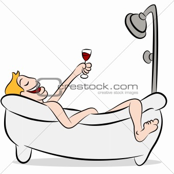 Man Drinking Wine In The Bathtub