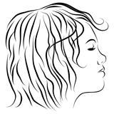 Female Head Profile Line Drawing