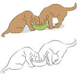 Two Labrador Puppies Eating From A Dog Bowl