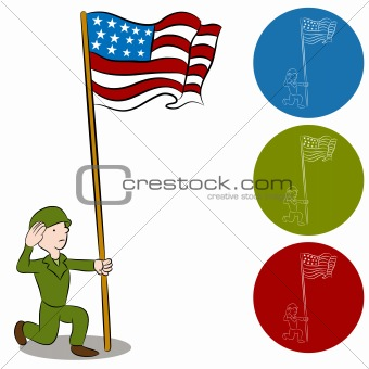 American Solider Saluting Flag