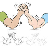 Two People Arm Wrestling