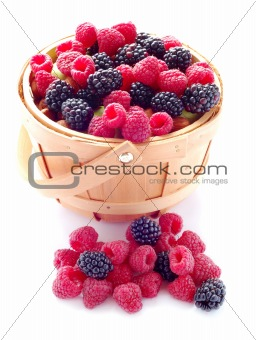 Basket of Fresh Raspberries and Blueberries