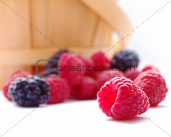 Closeup image of Fresh Raspberries and Blueberries