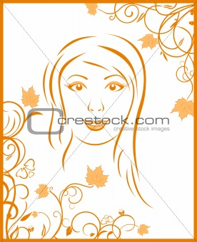 abstract face autumn girl portrait