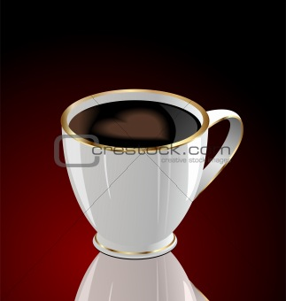Illustration of coffee cup with love heart