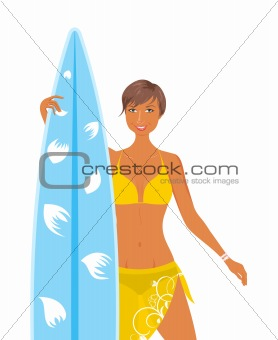 cool girl in yellow swimsuit with surfboard in her hand, isolate
