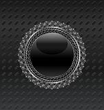 Illustration heraldic circle shield on metallic background