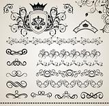 set floral ornate design elements (5)