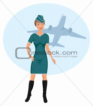 beautiful stewardess at the airport