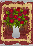 Beautiful red roses in vase with background