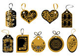 Labels in gold and black colors