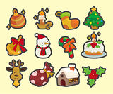 cute cartoon Christmas element icons