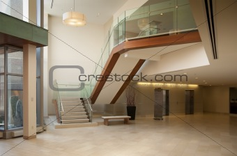 Modern office building lobby