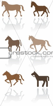 Horse or pony symbol illustration set.