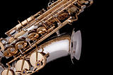 Saxophone Silver Gold Isolated Black