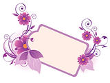 violet  banner with flowers, leaves  and ornament