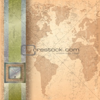 Abstract business grunge background with clock