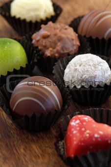 Assorted chocolates in wrappers