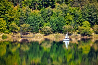 Yacht on o forested hill, pilichowice in Poland