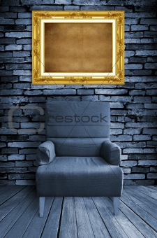 old single sofa seat and frame in front of the wall