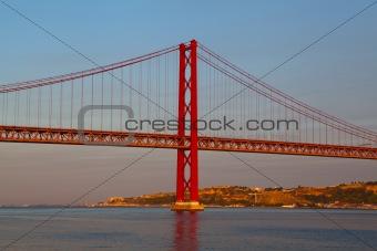 The 25 de Abril Bridge is a suspension bridge on river Tejo, Lis
