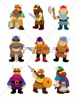 cartoon Viking Pirate icon set