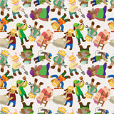 cartoon animal worker seamless pattern