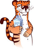 Sly tiger drinking milk.