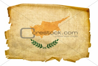 Cyprus flag old, isolated on white background.