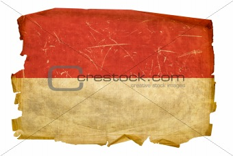 Indonesia Flag old, isolated on white background.