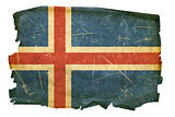 Iceland Flag old, isolated on white background