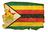 Zimbabwe Flag old, isolated on white background.