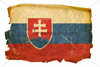 Slovakia Flag old, isolated on white background.