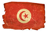 Tunisia Flag old, isolated on white background.