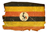 Uganda Flag old, isolated on white background.