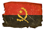 Angola Flag old, isolated on white background.