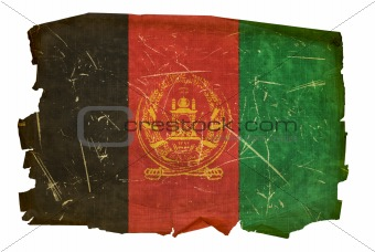 Afghanistan Flag old, isolated on white background.