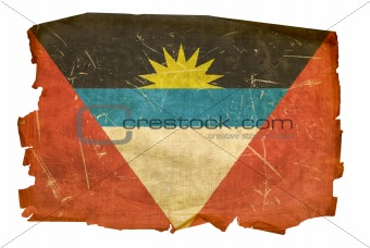 Antigua and Barbuda Flag old, isolated on white background.