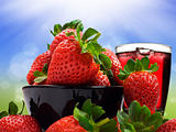 Fresh healthy strawberries and juice for a healthy diet