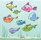 Set of the cartoon fishes.
