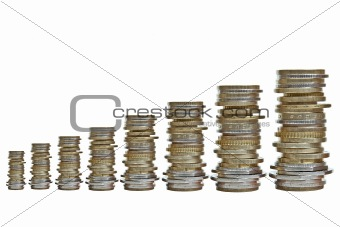 growing piles of various coins