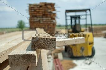 Carpentry factory and ordered timber