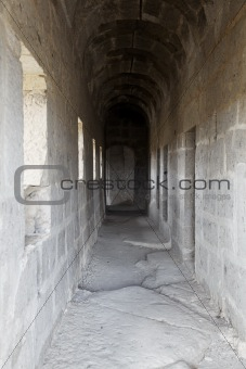 corridors to living quarters dis-used church, Cappadoci