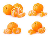 Set of ripe tangerine with slices
